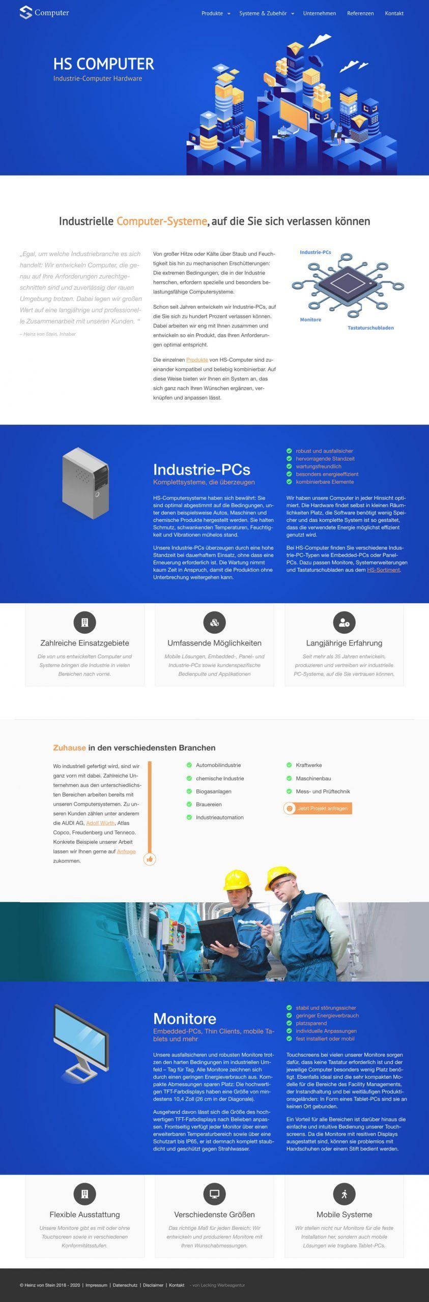 Screenshot der Seite: hs-industriecomputer.de