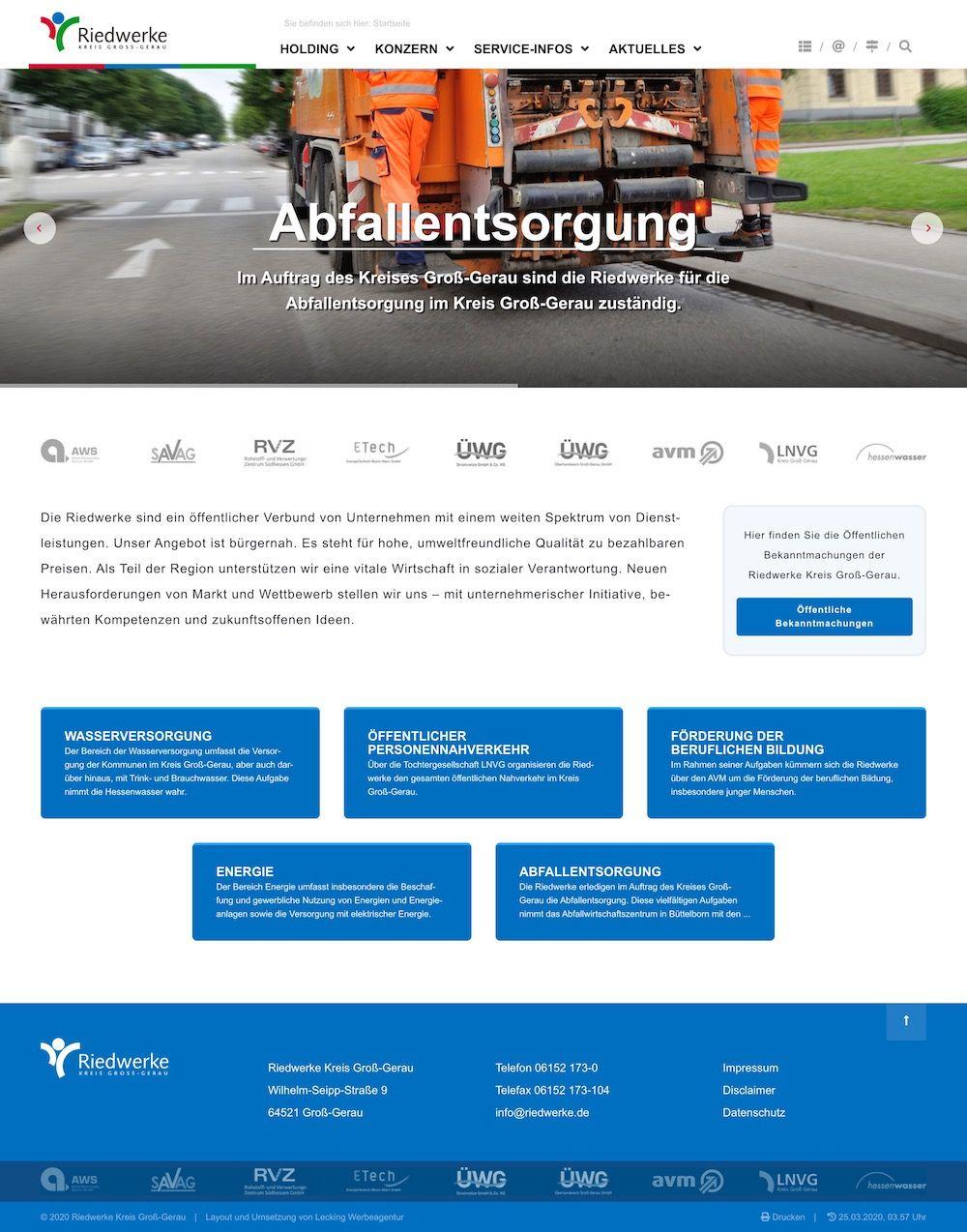 Screenshot der Seite: www.riedwerke.de
